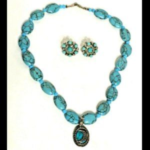 Faux Turquoise Necklace Earrings Sterling Silver
